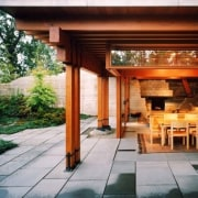 Architect: Cutler Anderson Architects backyard, door, home, house, interior design, outdoor structure, patio, property, real estate, wood