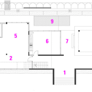 Ground floor plan of house by architect Chan architecture, area, design, diagram, drawing, floor plan, line, plan, product, purple, structure, text, white