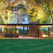 Photo by Robin Hill - The Glass House architecture, backyard, cottage, estate, facade, grass, home, house, lawn, outdoor structure, pavilion, property, real estate, yard, green, brown