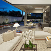 Outdoor entertaining space runs along this side of estate, home, interior design, living room, property, real estate, gray