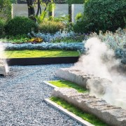 Vanke Park Mansion 'True Love' – FLOscape Landscape fountain, garden, grass, landscape, landscaping, lawn, plant, pond, shrub, walkway, water, water feature, water resources, watercourse, yard, gray, white