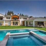 The Weeknd's massive US$19.995 million mansion - The estate, facade, hacienda, home, house, leisure, mansion, property, real estate, residential area, swimming pool, villa, gray, teal, blue