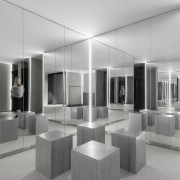 The sequence of rooms in the Jian Li architecture, black and white, ceiling, furniture, interior design, lobby, gray