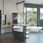 This is certainly a unique take on the bathroom, interior design, room, gray