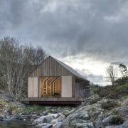 Photo: Pasi Aalto / pasiaalto - View from cottage, home, house, hut, real estate, shed, sky, water, wood, gray