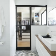 A clever glass door and window help to bathroom, home, interior design, room, sink, white