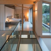 A view of the glass floor - A architecture, daylighting, glass, handrail, house, interior design, real estate, window, gray