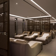 The perfect place to sit back and relax architecture, interior design, lighting, lobby, black, gray