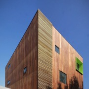 This green inset breaks up the wood architecture, building, daylighting, facade, house, siding, sky, wall, wood, blue