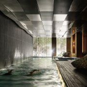 Promenade Aqui by Woods Bagot architecture, ceiling, daylighting, reflection, water, black, gray