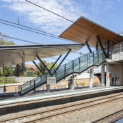 Cheltenham Station – Cox Architecture - Cheltenham Station architecture, building, metropolitan area, residential area, train station, transport, gray, teal