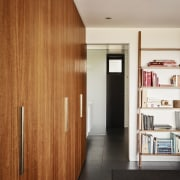 There's ample storage space throughout - There's ample architecture, ceiling, door, floor, flooring, house, interior design, wall, wood, brown, gray