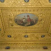 This gilded ceiling is certainly something else - material, metal, brown, orange