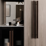A tasteful shelving area with an accompanying cupboard bathroom accessory, furniture, interior design, light fixture, product design, gray, black
