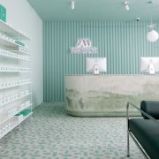 Sergio Mannino Studio designed this pharmacy to be architecture, ceiling, interior design, product, product design, wall, gray