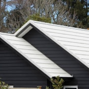 Metrotile metal panels daylighting, facade, home, house, real estate, roof, siding, window, black, white