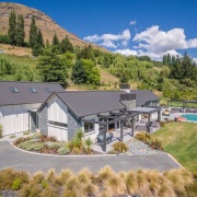 The word 'relax' comes to mind with this cottage, elevation, estate, farmhouse, hill station, home, house, land lot, landscape, mountain, mountain range, mountain village, property, real estate, residential area, suburb, villa, brown, gray