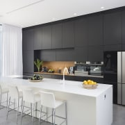Architect: Shachar-Rozenfeld architectsPhotography by Shai Epstein architecture, countertop, cuisine classique, house, interior design, kitchen, real estate, white, black, gray