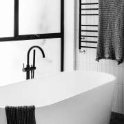 Architect: Technē Architecture + Interior DesignPhotography by bathroom, bathroom sink, bathtub, black and white, floor, interior design, plumbing fixture, product, product design, sink, tap, white