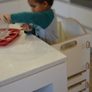 Helping toddlers help themselves at the table is child, design, desk, furniture, material, table, gray