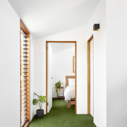 Green floors echo the outdoors - Green floors architecture, door, home, house, interior design, real estate, window, white