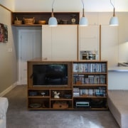 TIDA NZ 2017 – Designer kitchen entrant – bookcase, furniture, home, interior design, living room, property, real estate, room, shelf, shelving, wall, gray