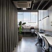A view of the curtains along one wall architecture, interior design, black, gray