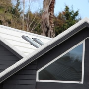 Metrotile metal panels daylighting, facade, house, outdoor structure, roof, siding, window, black