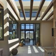 Wood beams break up harsh desert sun - daylighting, estate, interior design, property, real estate, roof, window, black, brown