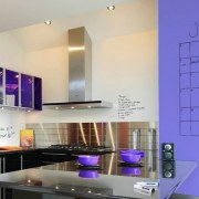 Make family organisation a breeze with IdeaPaint. - interior design, kitchen, product design, purple, blue, gray