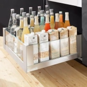 Learn more about Space Tower on the distilled beverage, furniture, liqueur, product, shelf, table, white
