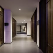 Wood slats line this hallway - Wood slats architecture, ceiling, estate, hall, home, interior design, lighting, lobby, property, real estate, wall, gray, black