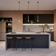 Treehouse at Parkside Walk – MJA Studio - cabinetry, countertop, cuisine classique, furniture, interior design, kitchen, gray, black