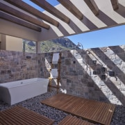 Certainly unique, this outdoor bathroom is neat addition apartment, architecture, daylighting, outdoor structure, property, real estate, roof, wood, gray, black