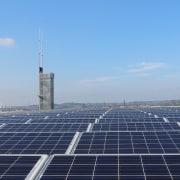569 firestation - 569 firestation - daytime | daytime, energy, roof, sky, solar energy, solar panel, solar power, sunlight, technology, teal, blue
