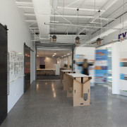 The Z Energy fit-out includes several feature spaces, exhibition, interior design, gray