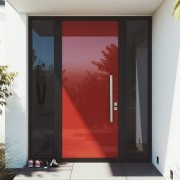Element door in Lobster red - Element door door, facade, home, house, interior design, property, real estate, window