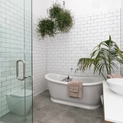 Architect: Allan McIntosh of Buildology Ltd bathroom, floor, home, interior design, plumbing fixture, product design, room, tap, tile, wall, white