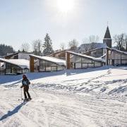 Skiing past the villas cross country skiing, mountain range, nordic skiing, piste, recreation, roof, ski, ski cross, ski equipment, skiing, sky, snow, winter, winter sport, white