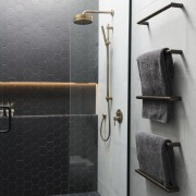Caro Design bathroom, floor, plumbing fixture, product design, room, tap, tile, wall, black, gray
