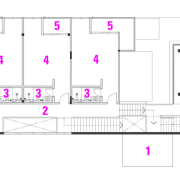 First floor plan of house by architect Chan angle, area, design, diagram, drawing, font, line, purple, text, white