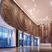 The wood slat arrangement resembles droplets hitting water architecture, building, ceiling, daylighting, interior design, lobby, tourist attraction, gray