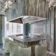 Ice-like chairs surround this serving area - Ice-like architecture, ceiling, furniture, interior design, table, gray