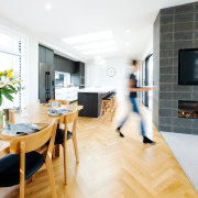 The central kitchen is a few short steps