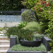 Garden Project By Landart Landscapes. Photography: Jason Busch backyard, courtyard, flowerpot, garden, grass, houseplant, landscape, landscaping, outdoor structure, plant, shrub, tree, walkway, yard, brown, gray