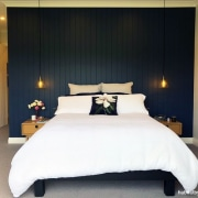 Main Bedroom - bed | bed frame | bed, bed frame, bed sheet, bedding, bedroom, boutique hotel, building, ceiling, comfort, design, duvet cover, floor, furniture, interior design, lighting, linens, mattress, mattress pad, property, real estate, room, suite, textile, wall, black, white