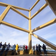 On a clear day – visitors can look architecture, daylighting, sky, yellow, teal