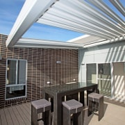 Closed, opened, retracted - apartment | architecture | apartment, architecture, building, ceiling, daylighting, deck, design, facade, furniture, home, house, interior design, patio, pergola, property, real estate, roof, room, shade, gray