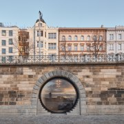 The stone arched linings of the existing portals