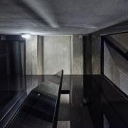Black steel doors on the public toilet vaults.